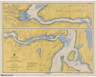 Vintography Reprinted 8 x 12 Nautical Map of Hammersley Inlet to Shelton 0 US Coast & Geodetic Survey 94a