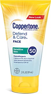 Coppertone Defend & Care Sensitive Skin Sunscreen Face Lotion Broad Spectrum SPF 50 (2 Fluid Ounce) (Packaging may vary)