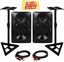 Mackie MR824 8-Inch Powered Studio Monitor Bundle with 2 Monitors, Stands, Stereo Breakout Cable, 1/4-Inch-to-RCA Cable, and Austin Bazaar Polishing Cloth