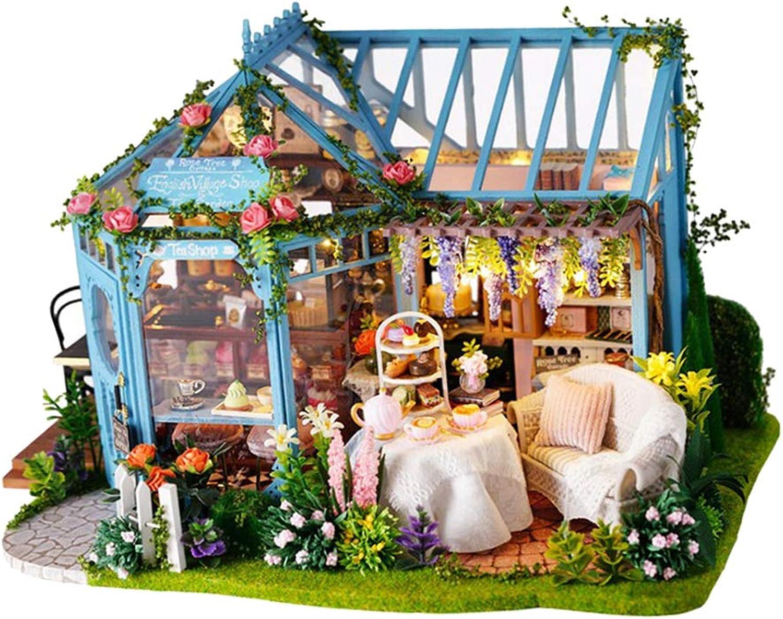 SM SunniMix Kit di Giocattoli per Patio in Miniatura per Bambole in Legno Fai-da-Te con Movimenti E Luci Musicali, Assemblaggio di Giocattoli Regalo di Compleanno