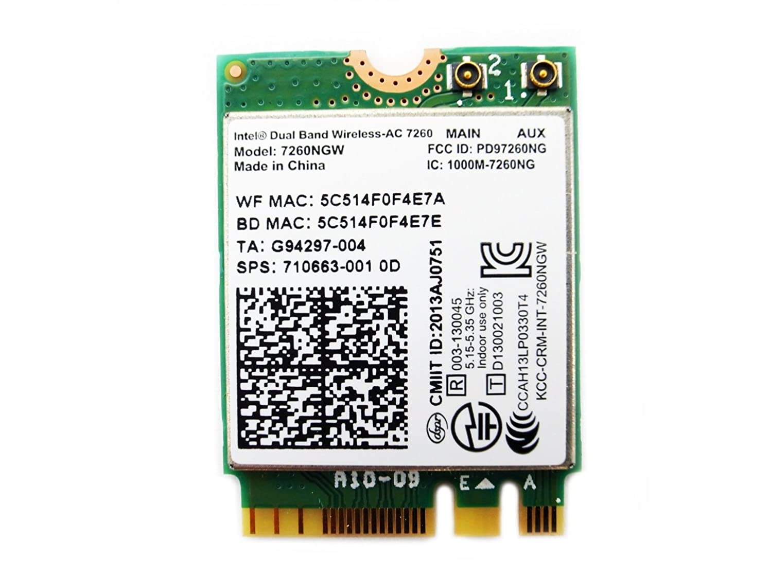 ウィザード悲観的浸漬Intel デュアルバンド 高速 Wi-Fi 通信Band Wireless-802.11 AC Intel 7260NGW (NGFF) 最大リング867 Mbps+ Bluetooth 4.0 無線LANカード EnlargeCorp