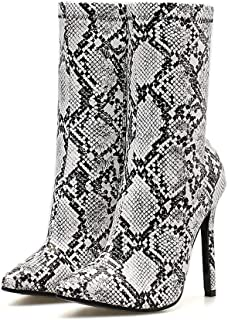 Stupmary Women's Ankle Boots Pointed Toe Snake Print Illuminate Bootie