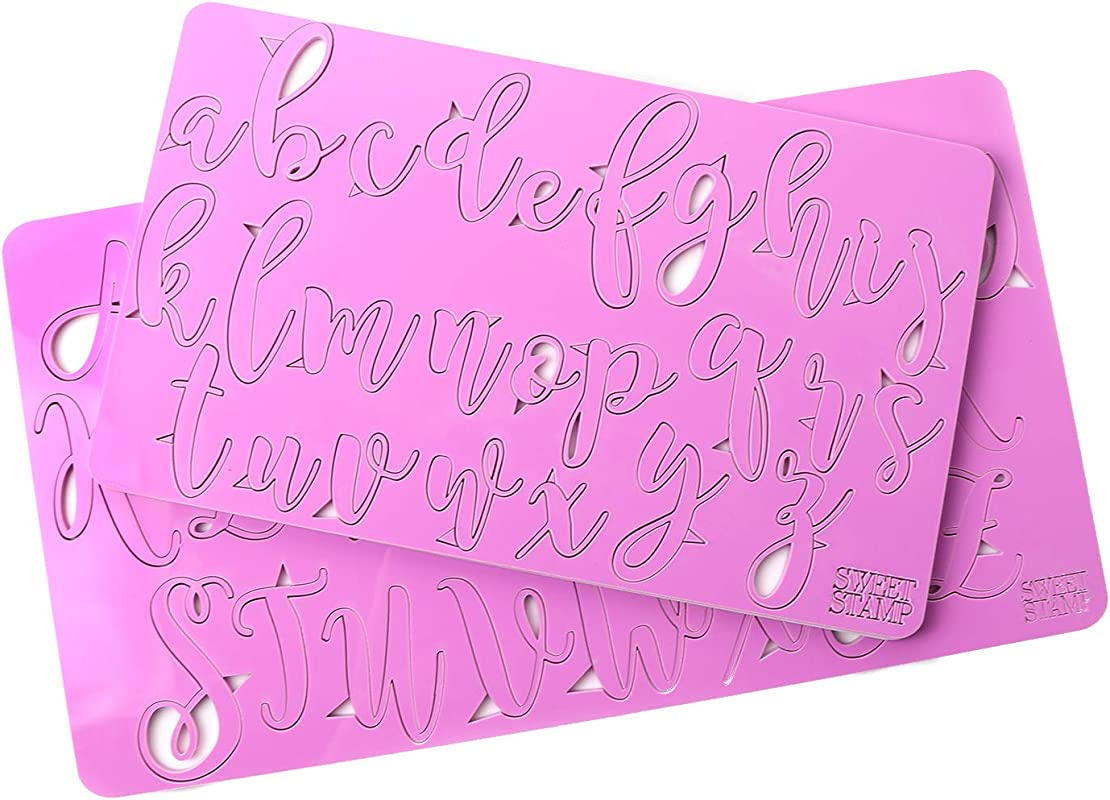 Sweet Stamp By AmyCakes Plastic Elegant Uppercase And Lowercase Letters For Embossing Cakes