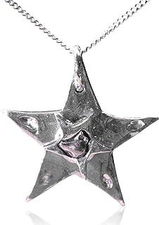 Grande collana in argento con meteorite a stella – con vera meteorite di ferro