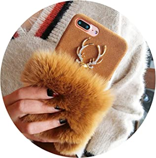 Winter Rabbit Fur for iPhone X XS MAX XR Mobile Phone case elk Plush 6s 8plus Fur Shell Tide,Brown,for iPhone Xs