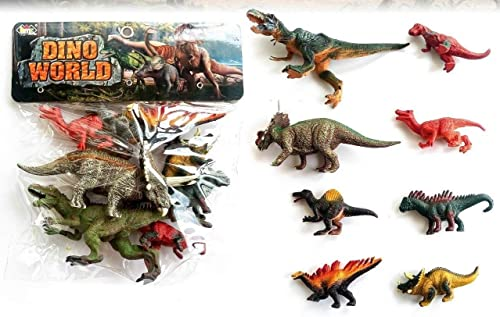 METRO TOY'S & GIFT Plastic Play Dinosaur Realistic Figure - Set of 8 Pieces