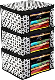 Kuber Industries Polka Dots Design 3 Piece Non Woven Fabric Saree Cover/Clothes Organiser for Wardrobe Set with Transparent Window, Extra Large,(Black & White) - CTKTC038094
