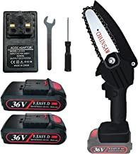 Mini Cordless Chainsaw, Acrial 36V Mini Electric Chainsaw Rechargeable with Chains 4inch with Baffle LED Light and Protect...