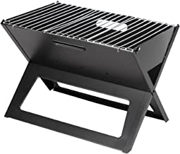 Fire Sense Black Notebook Charcoal Grill | Heavy Duty 14 Inch Steel Construction | For..