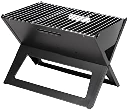 Fire Sense Black Notebook Charcoal Grill | Heavy Duty 14 Inch Steel Construction | For Outdoor Barbecues, Camping, Tailgat...