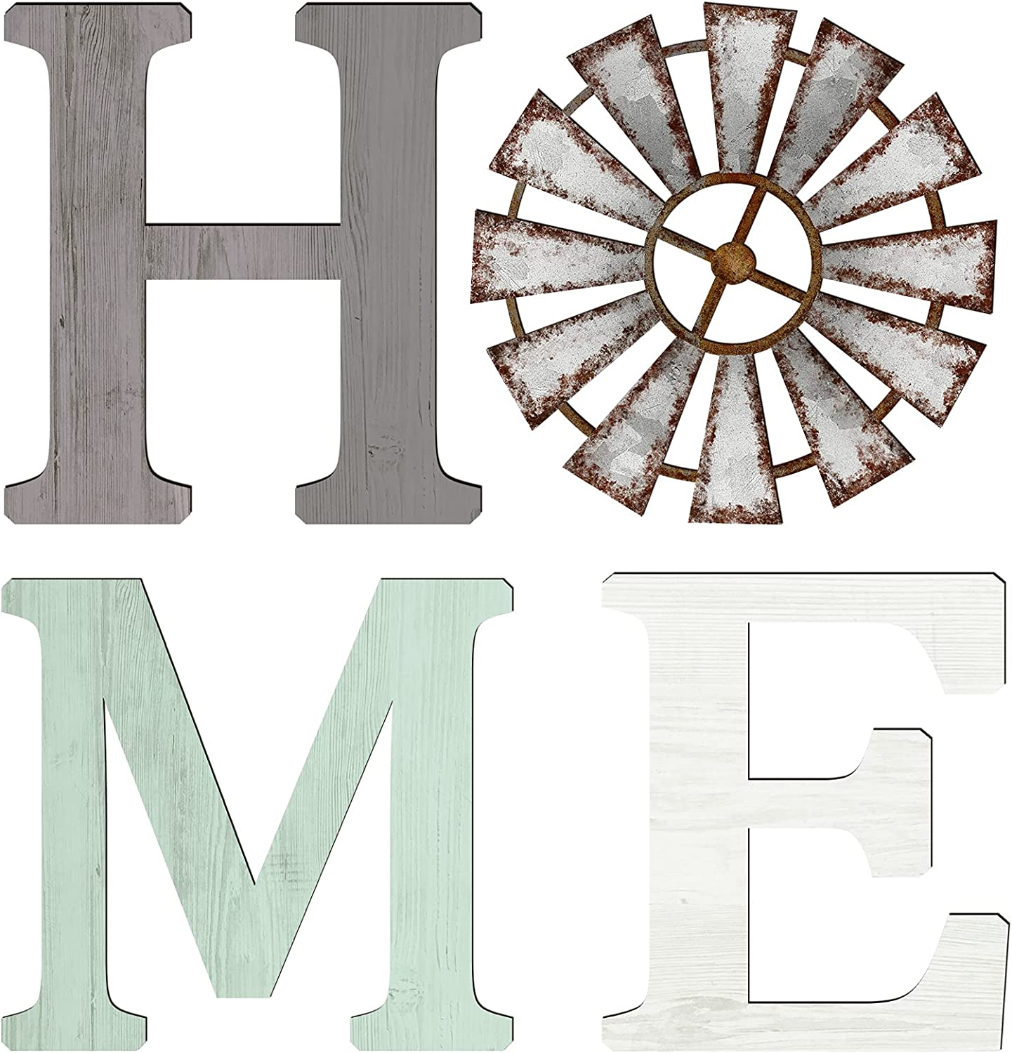 4 Pieces Rustic Home Letters Decor Wooden Home Sign with Windmill Wood Home Wall Decor Home Words Wood Sign Farmhouse Wood Home Wall Art with Adhesive Dots for House (Grey, Light Green, White)