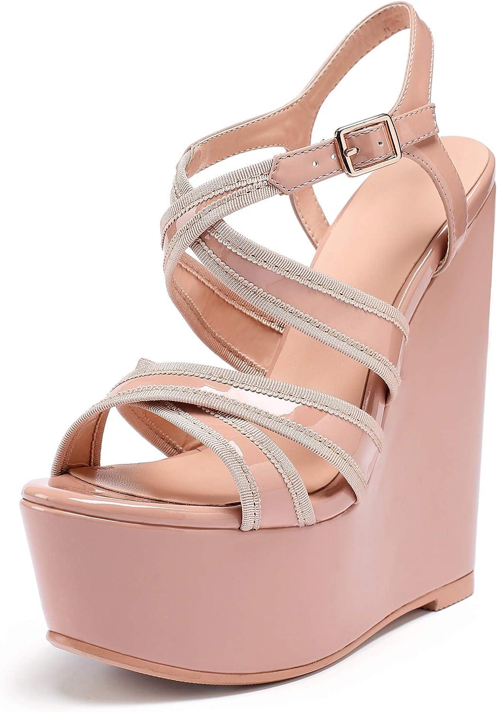 Eldof Womens Special Campaign Wedge 1 year warranty Platform Sandals H Toe Strap Cross Peep
