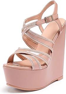 Women/'s Shoes Wedge High Heel Backstrap Patent Leather Peep ToeHeeled Platform Sandals-White-10