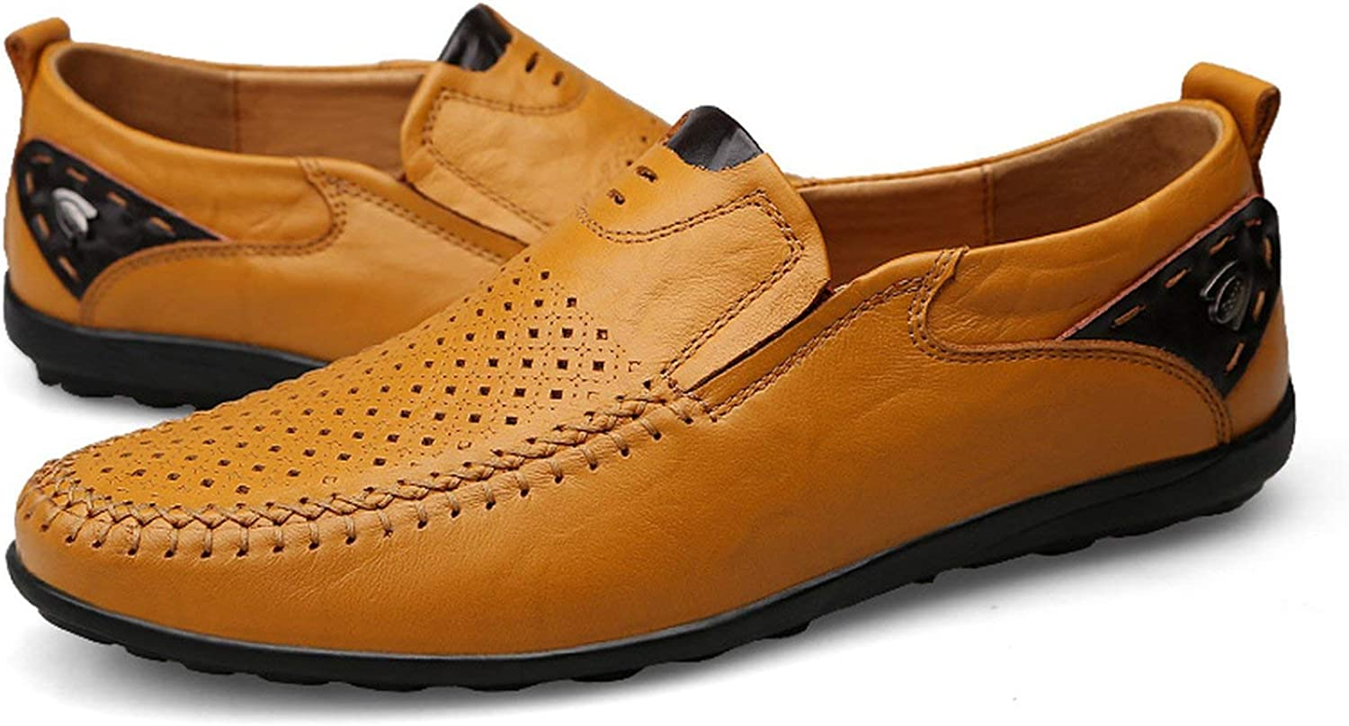 ALWAYS ME Summer Genuine Leather Men Casual shoes Moccasins Breathable Slip on Formal shoes