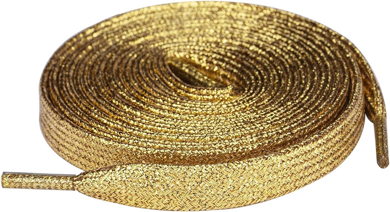 Olukssck 2 Pairs free shipping Flat Glitter Shiny Metallic Laces Shoe for Sn shop