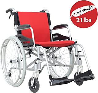 """Hi-Fortune Wheelchair 21lbs Lightweight Self-propelled Chair with Travel Bag and Cushion, Portable and Folding with Magnesium Alloy, 17.5"""" Seat, Red, 21lbs"""