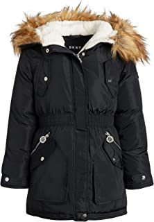 Heavyweight Quilted Bubble Puffer Bomber Jacket with Fur Trimmed Hood DKNY Girls/' Winter Coat