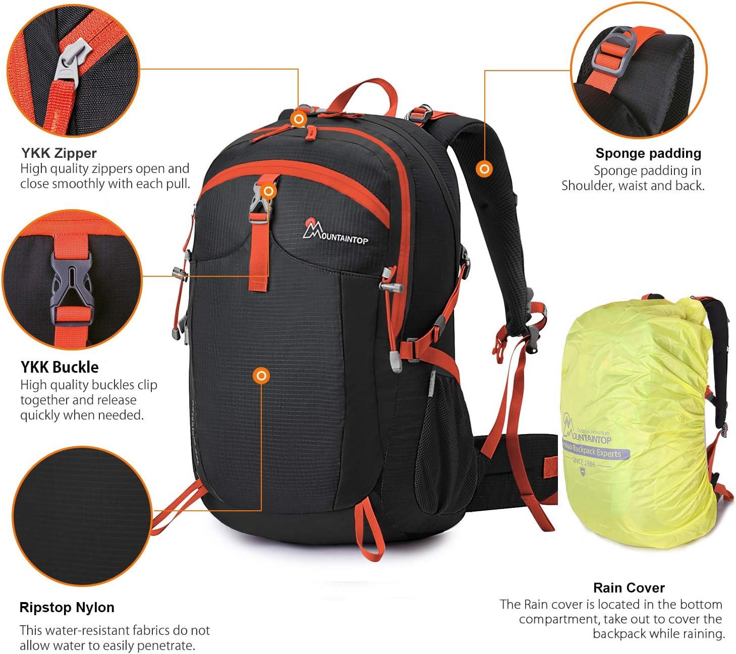 MOUNTAINTOP Mochila de Senderismo 40 litros con Cubierta Impermeable Mochila Deporte para Trekking Camping Viajes al Aire Libre