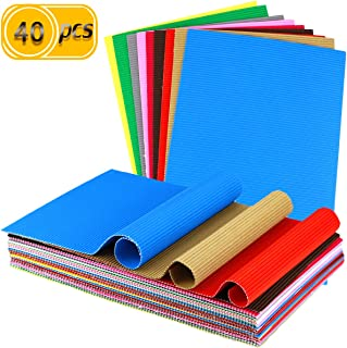 UPlama 40PCS Corrugated Sheets,Construction Paper,Colored Corruggated Cardboard for Craft,DIY Projects and Flower Making kit, 8