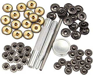 Walkingpround 15 Sets Leather Rivets 15mm Black Matte Press Studs Button Kit Sewing Tools Snap Popper Fastener Sewing Leather Buttons