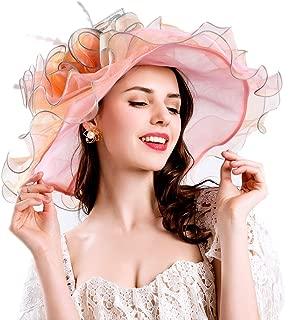 Joynest Women Organza Kentucky Derby Hat Tea Party Hat Women Church Hats Women Ruffles Wedding Hat