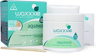 Microwaveable Body Hair Removal Wax - Waxxxie Aquawax For Total Body Waxing At Home With Salon Quality Results, 100% Water Soluble Wax For Easy Cleaning - 12.3 fl oz
