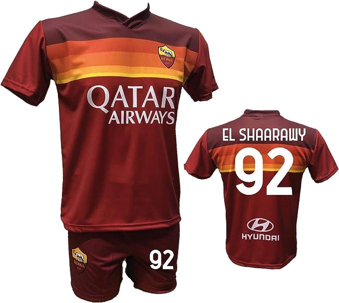 Completo Calcio Maglia Roma El SHAARAWY 92 e Pantaloncino Stampato con Numero 92 Replica Autorizzata 2020-2021 Taglie da Bambino e Adulto