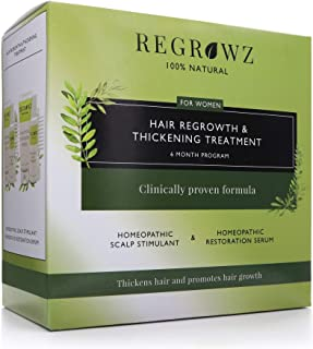 REGROWZ Women's 100% Natural Topical Hair Restoration Treatment for Regrowth, Hair Loss, Thinning, DHT Blocker Clinically ...