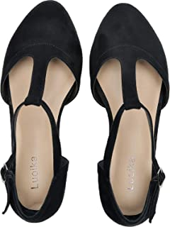Women's Wide Width Flat Sandals - Flexible Buckle T-Strap Pointy Toe Cozy Summer Shoes.