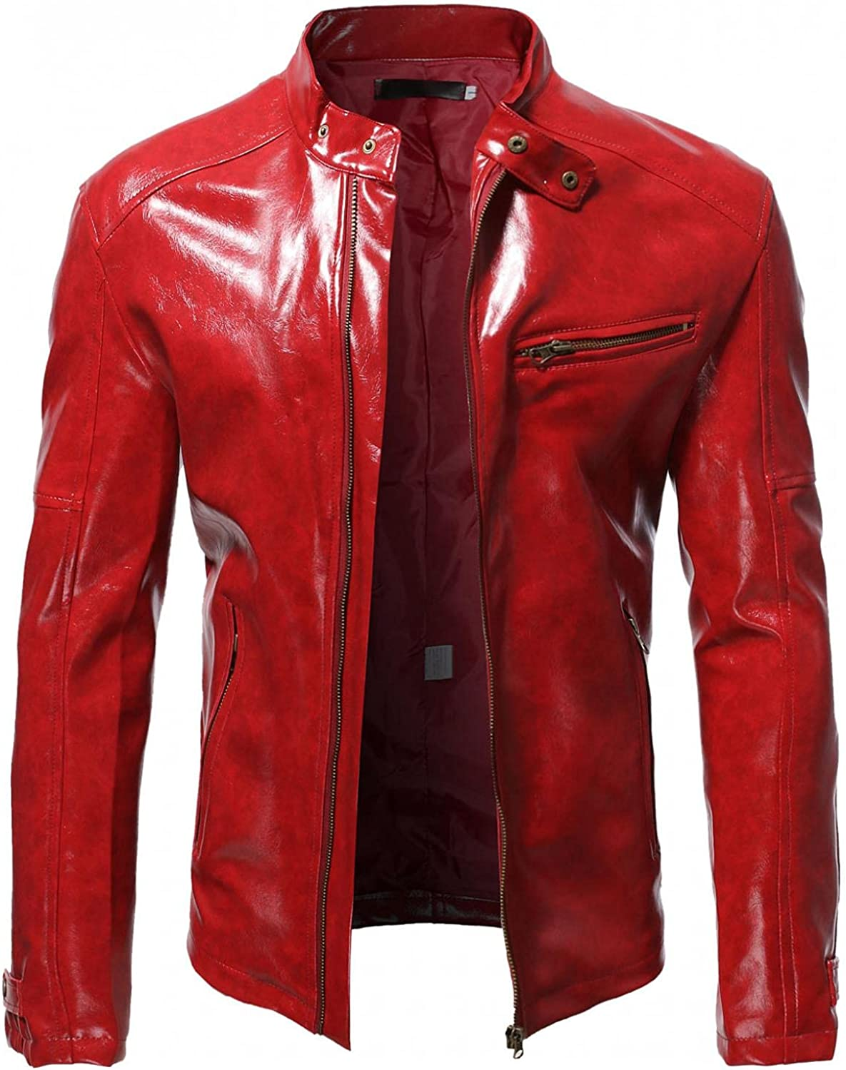 SUIQU Men's Stand Collar Leather Jacket Motorcycle Lightweight Faux Leather Outwear Fashion Zipper Pocket Jacket Coat