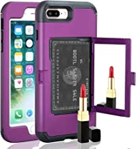 iPhone 7 Plus case, TOPBIN [Cosmetic Mirror] & [1 Card Slots] Hard PC+ Soft Silicone [3 in 1] Anti-Scratch Hybrid Full-Body Dual Protective Case for Apple iPhone 7 Plus/8 Plus (Purple)