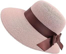 MEANIT Sombrero de Sol, Gorras de Playa de Verano, Sombrero de Paja con Lazo para Mujer, Plegable con UPF 50+