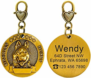 Didog Custom Engraved Dog ID Tags Matching with 18 Breeds 3D Effect,Personalized Memorial Dog Tags for Small Medium Large Dogs