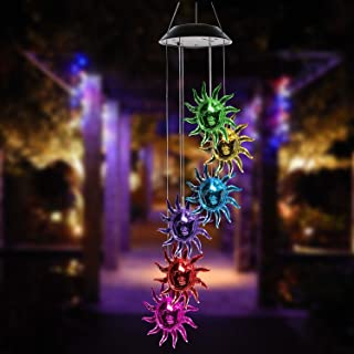 ISFORU LED Solar Sunflower Wind Chime, Changing Color Waterproof Solar Sunflower Wind Chimes Hanging Lantern Light for Home Party Bedroom Night Garden Decoration,Gift for Mother