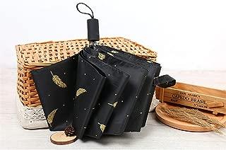 AUWANGAOFEI Small Fresh Feathers Folded Umbrella Vinyl UV Sun Umbrella Sun Umbrella (Color : Black, Size : 550)