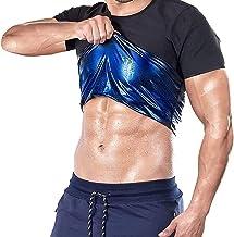 joyvio Dames/heren sauna-effect T-shirt met korte mouwen, lichaamsvormend neopreen saunapak, zweet, sneller afvallen, vetv...