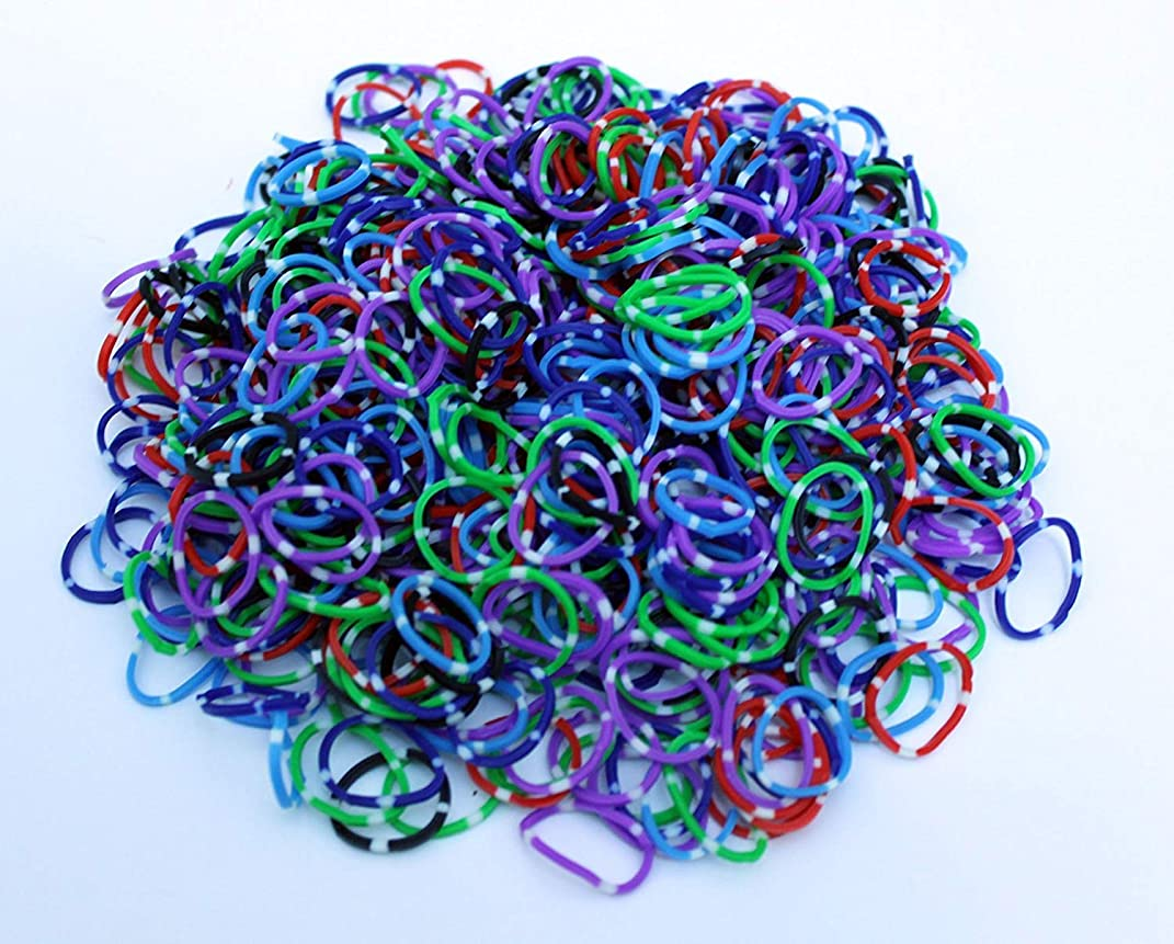 Polka Dot Color Rainbow Rubber Loom Rainbow Bands 600 Pieces with 24
