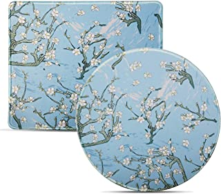Umikk Mouse Pad, Small Cute Mouse Pad with Tree Design, 2 Pack Non-Slip Mousepad with Stitched Edge for Work Gaming Daily Use