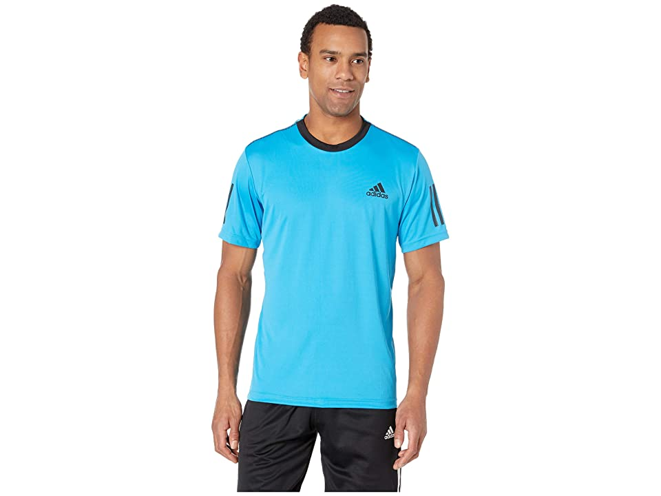 adidas Club 3-Stripes Tee (Shock Cyan/Black) Men's T Shirt, Blue