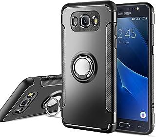 MaiJin Funda para Samsung Galaxy J5 2016 (5,2 Pulgadas) Multifunción Anillo sostenedor movil de 360 Grados con función de Soporte Rugged Armor Cover Case (Negro)