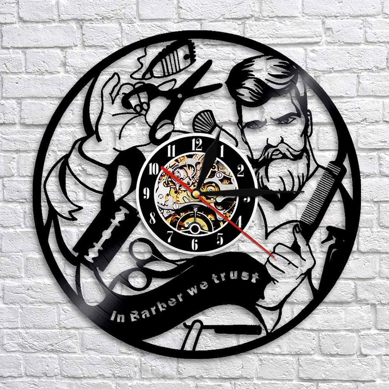 GZGJ Disco De Vinilo Reloj De Parojo Reloj De Peluquería En La Parojo Reloj De Peluquería Relojes 3D Diseño Moderno Arte De La Parojo Decoración