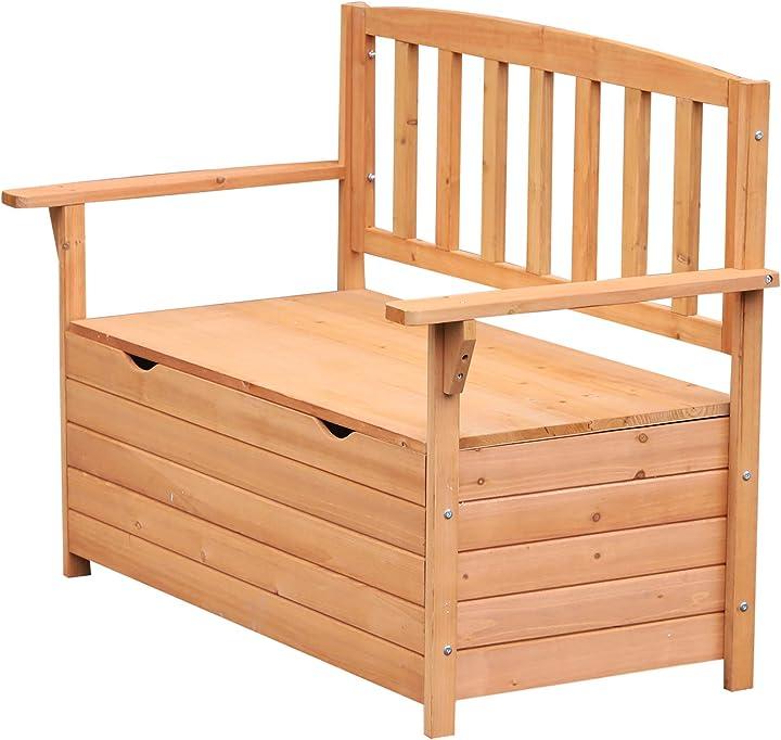 Panchina da giardino 2 posti con vano contenitore legno 112x58x84cm outsunny IT84B-3110631