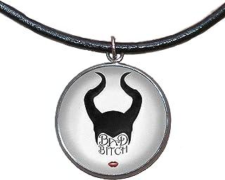 Ciondolo in acciaio inossidabile, 30mm, cordoncino di cuoio, fatto a mano, illustrazione Maleficent
