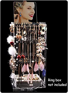 DesignSter Stud Earring Holder - Premium Acrylic 360°Rotatable 276 Hanger Jewelry Necklace Display Rack Organizer Stand Tower with Mirror (Transparent)