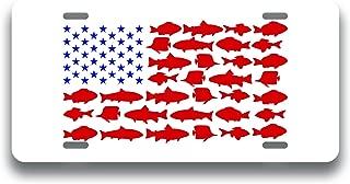 Fishing American Flag Printed Vanity Front License Plate Tag KCFP117