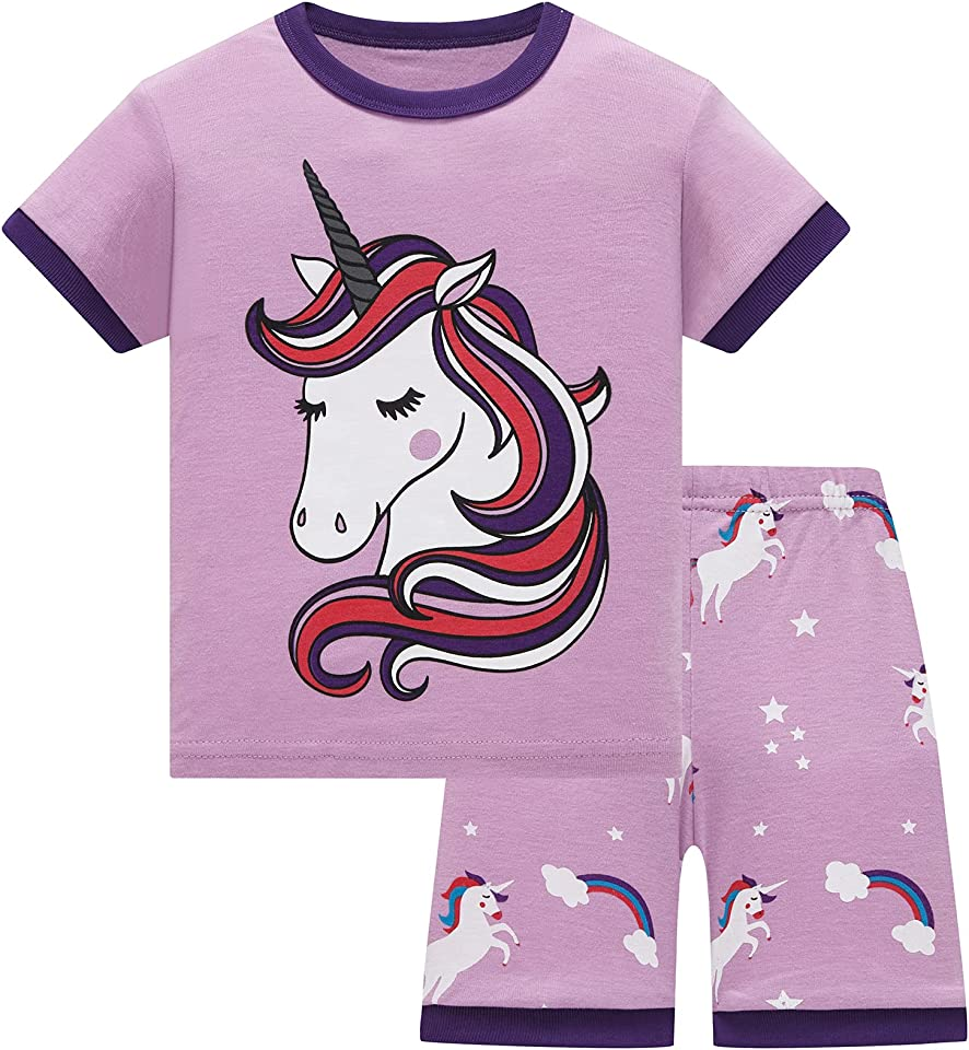 Girls Pyjamas Summer Shorts Sets Unicorn 100% Cotton Sleepwear Short Sleeve 2 Piece Outfit for Kids Age 1-12 Years