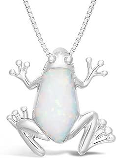 Lavari - Created Opal Frog Birthstone Pendant in Sterling Silver 18