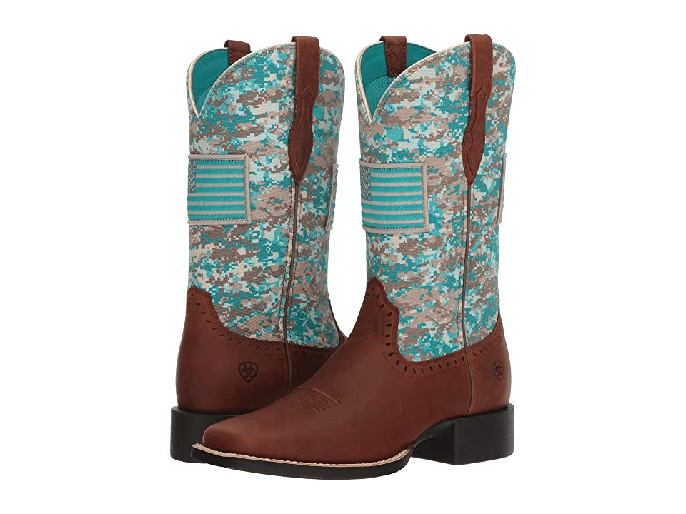 Ariat Round Up Patriot (Foothill Brown/Turquoise Camo) Cowboy Boots