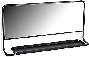Versa 20850041 Espejo con Balda Metal Negro 60 x 12 x 30 cm