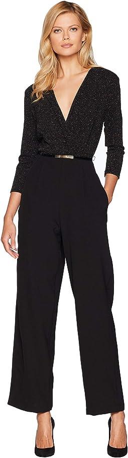 V-Neck Belted Long Sleeve Jumpsuit